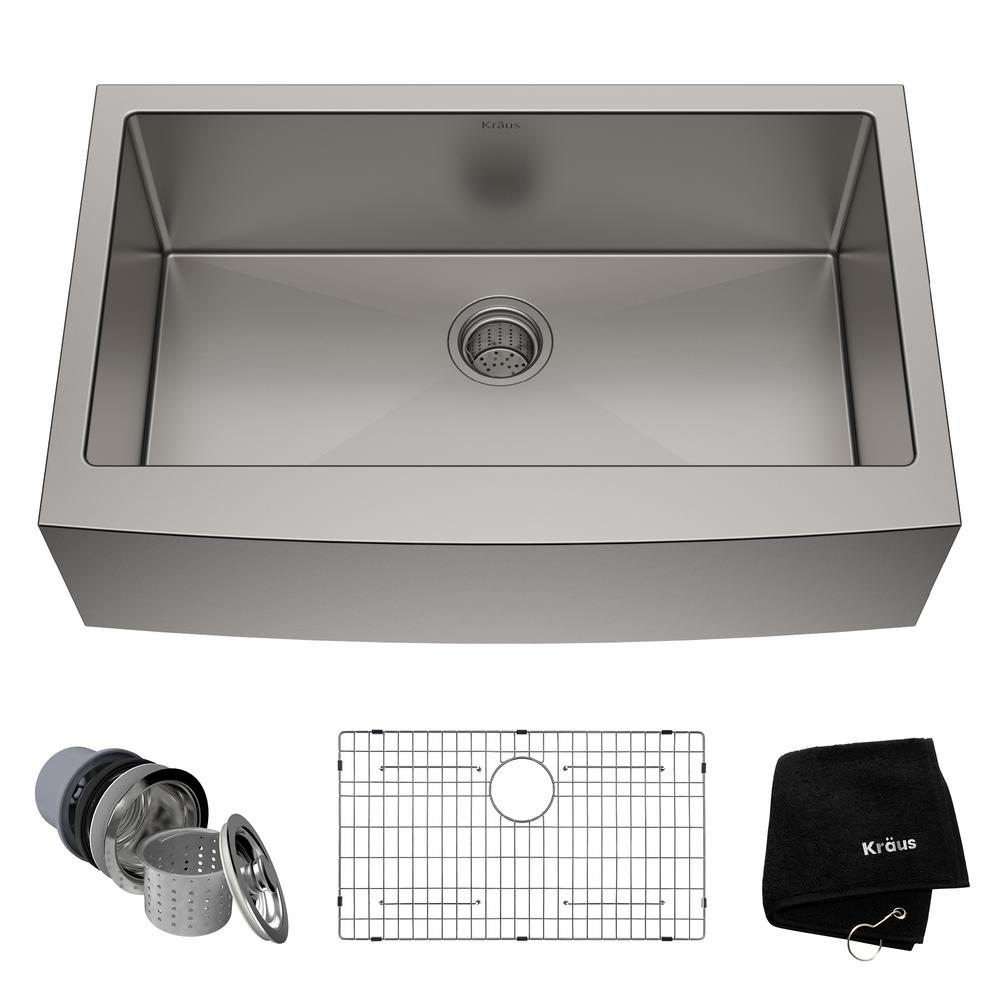 Kraus Standart Pro Farmhouse Apron Front Stainless Steel  In Single Bowl Kitchen Sink