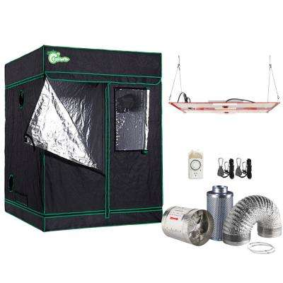 1000-Watt Equivalent Full Spectrum Horticulture Grow Light Fixture with Grow Tent and Ventilation System, Daylight