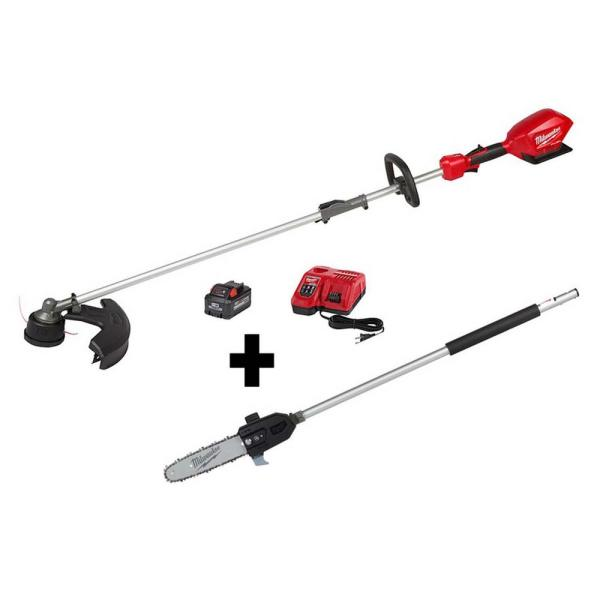 M18 FUEL 18-Volt Lithium-Ion Brushless Cordless String Trimmer Kit with M18 FUEL 10 in. Pole Saw Attachment