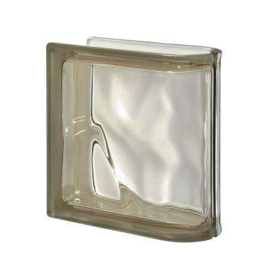 Pegasus Siena 7.48 in. x 7.48 in. x 3.15 in. Wavy Pattern End Linear Glass Block