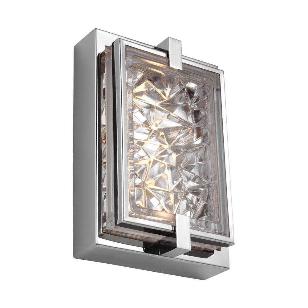 Feiss barrington 10 watt brushed steel integrated led bath light wb1341bs led the home depot for Stainless steel bathroom lights
