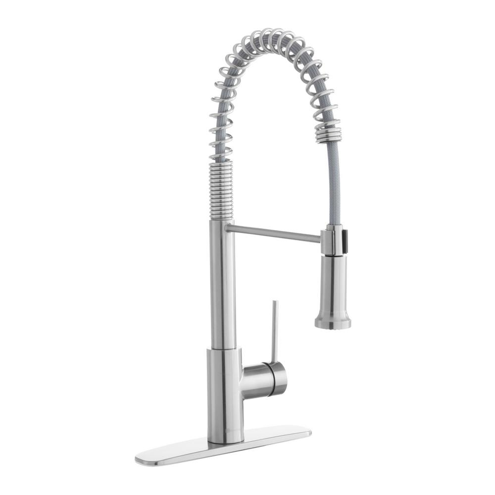Lemist Single-Handle Coil Springneck Pull-Down Sprayer Kitchen Faucet in Stainless Steel