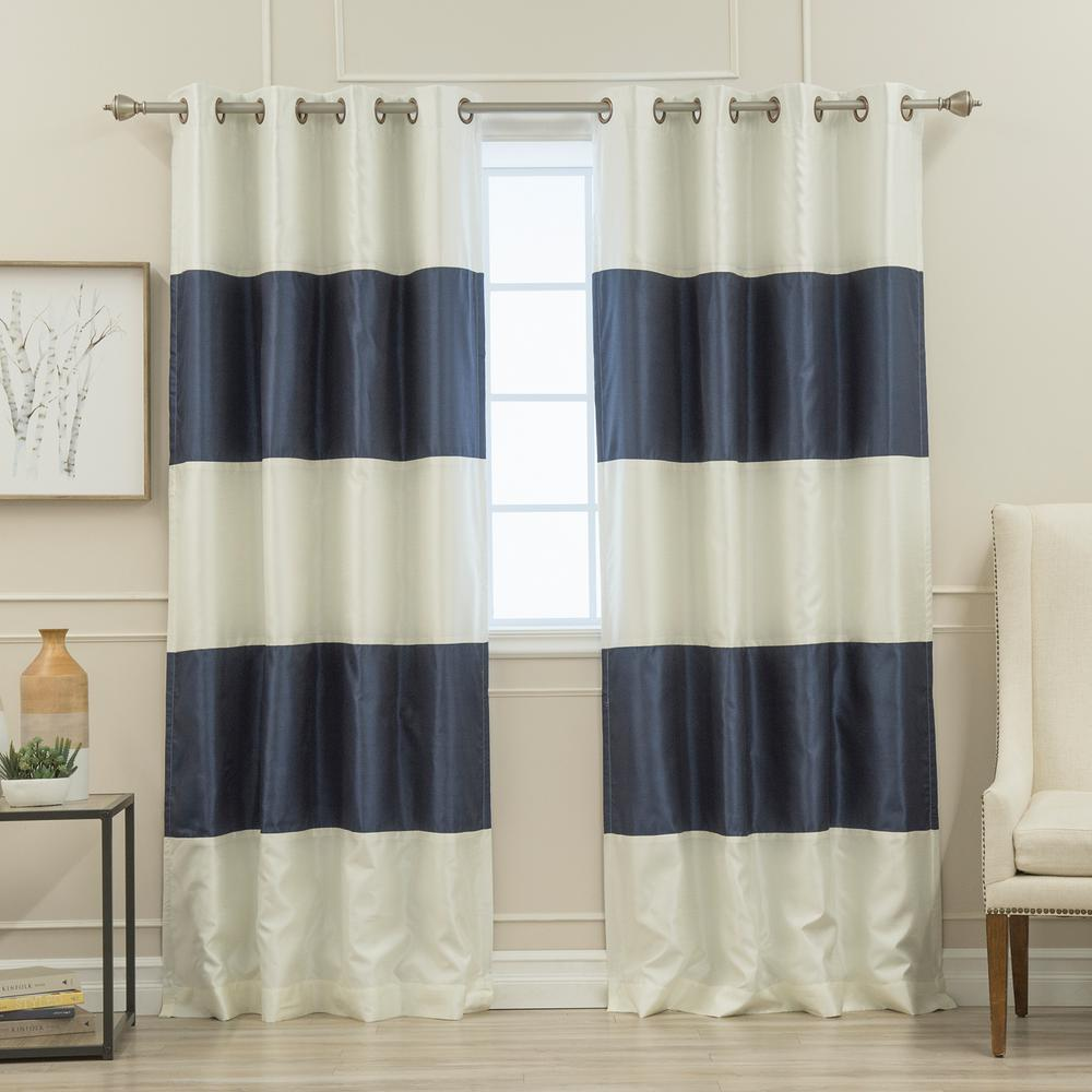 elrene highland stripe 50 in w x 95 in l indoor outdoor tab top window curtain navy 18795nav. Black Bedroom Furniture Sets. Home Design Ideas