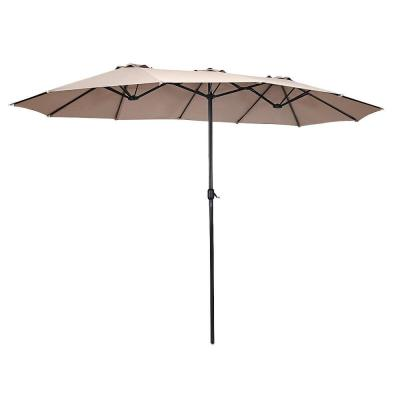 Outdoor 15 ft. Steel Market Patio Umbrella Double-Sided Twin Patio Umbrella in beige with Crank
