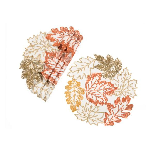 0.1 in. H x 16 in. W Round Autumn Leaves Embroidered Cutwork Placemats in White (Set of 4)