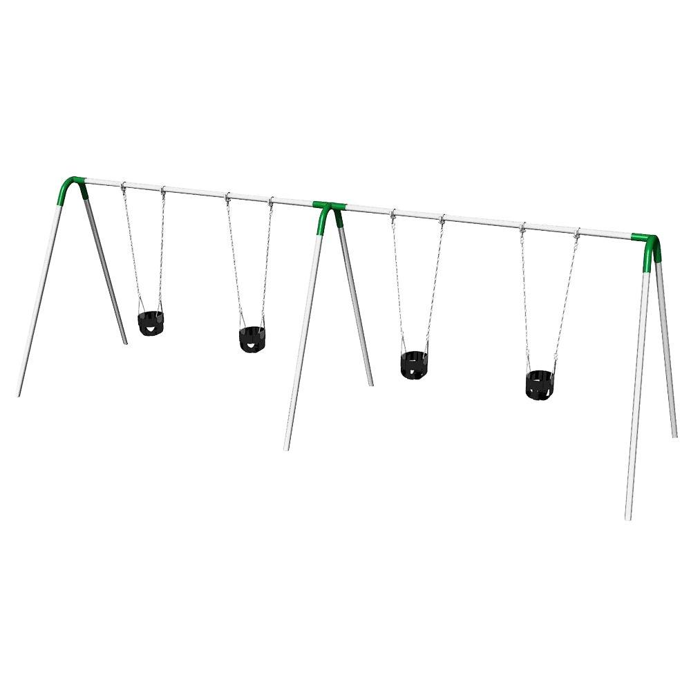 Double Bay Commercial Bipod Swing Set with Tot Seats and Green