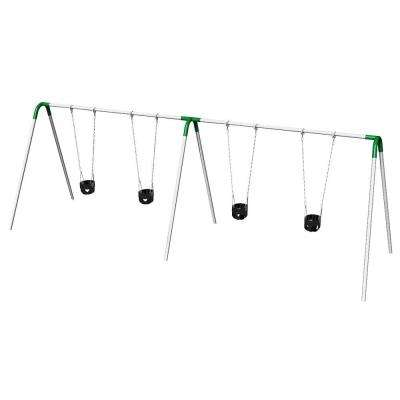 Double Bay Commercial Bipod Swing Set with Tot Seats and Green Yokes