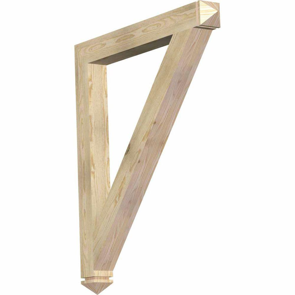 Ekena Millwork 4 in. x 44 in. x 38 in. Douglas Fir Traditional Arts and Crafts Rough Sawn Bracket