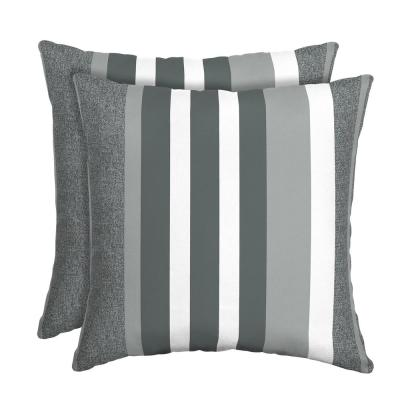 DriWeave Petersburg Stripe Square Outdoor Throw Pillow (2-Pack)