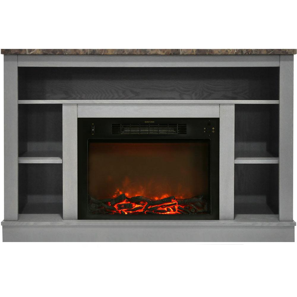 Wondrous Cambridge 47 In Electric Fireplace With 1500 Watt Charred Log Insert And A V Storage Mantel In Gray Interior Design Ideas Inamawefileorg