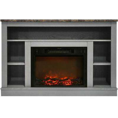 47 in. Electric Fireplace with 1500-Watt Charred Log Insert and A/V Storage Mantel in Gray