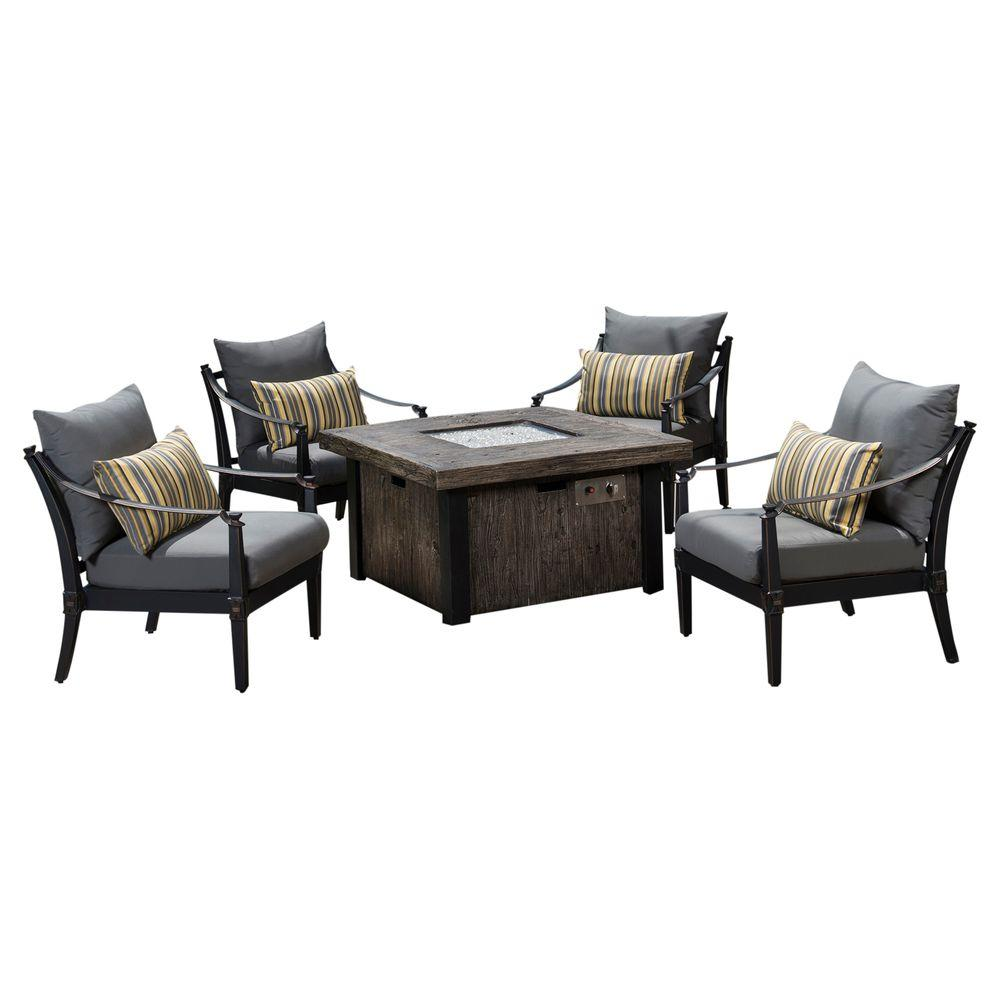 Astoria 5-Piece Fire Pit Chat Set with Charcoal Grey Cushions