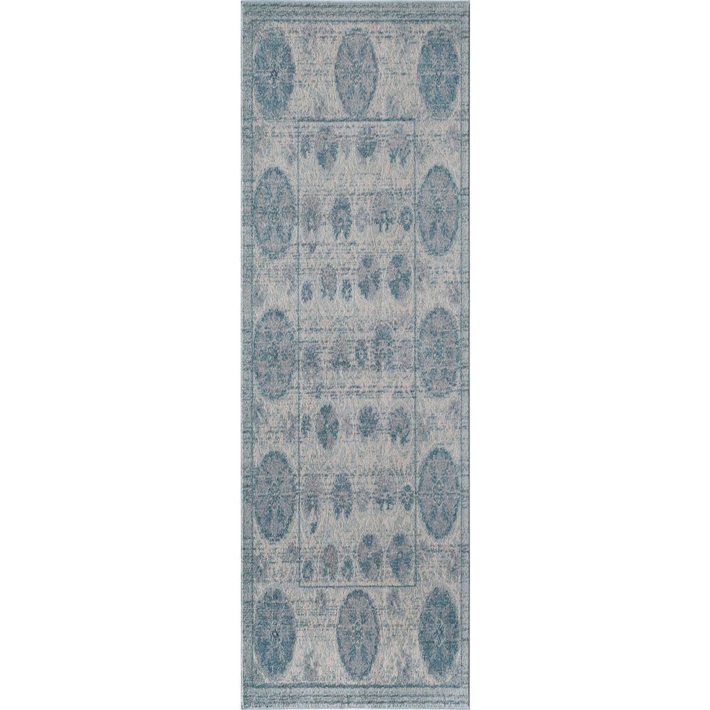 Barbara Ivory Blue Ivory 2 ft. 2 in. x 7 ft. 6 in. Rectangular Runner