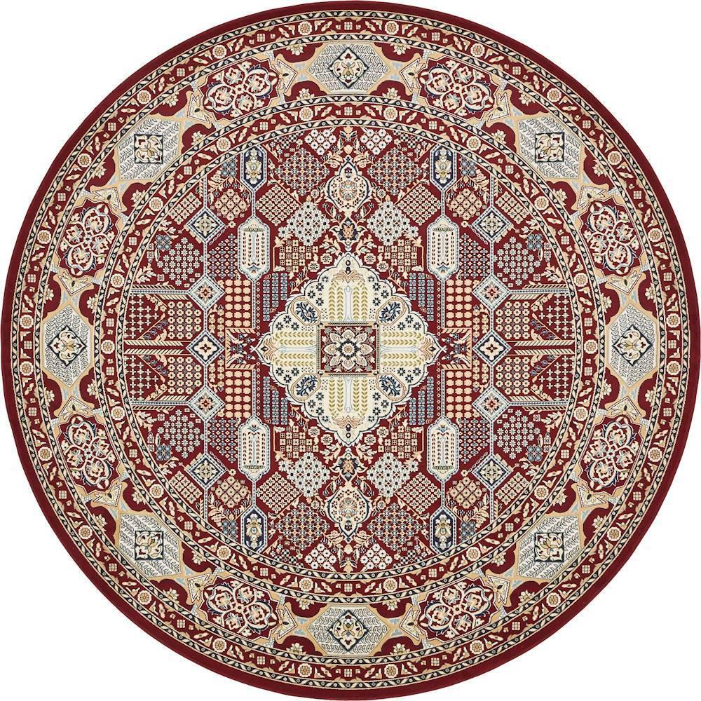 unique loom nain design burgundy 10 ft x 10 ft round area rug 3135051 the home depot. Black Bedroom Furniture Sets. Home Design Ideas
