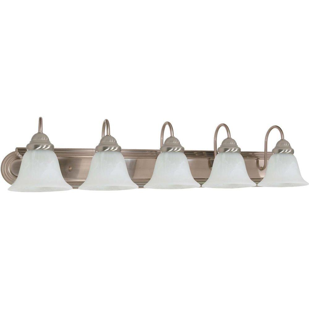Glomar 5 Light Brushed Nickel Vanity Light With Alabaster Glass Bell Shade Hd 323 The Home Depot