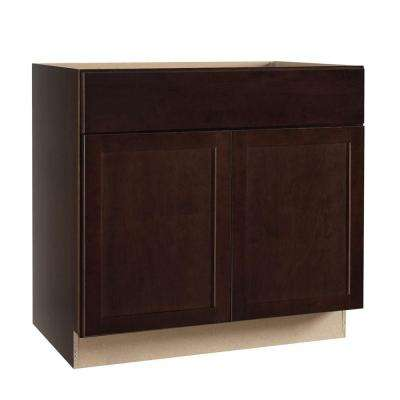 Shaker Assembled 36x34.5x24 in. Base Kitchen Cabinet with Ball-Bearing Drawer Glides in Java