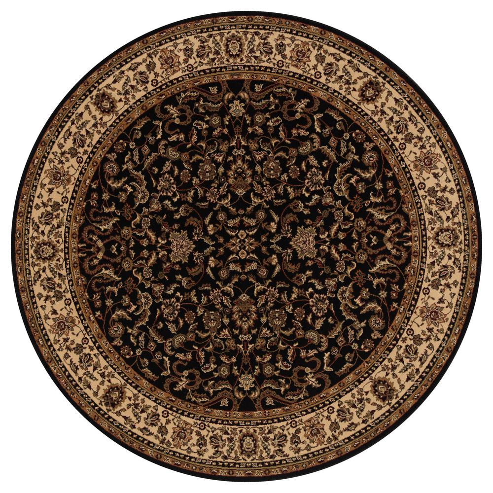 Persian Classics Kashan Black 5 ft. 3 in. Round Area Rug