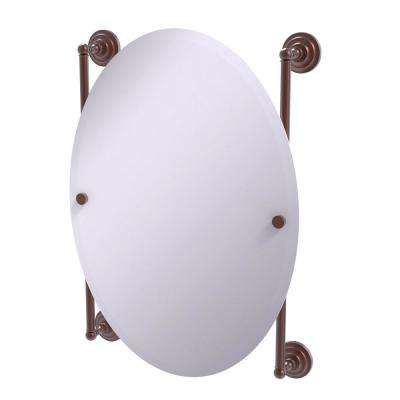 Que New Collection Oval Frameless Rail Mounted Mirror in Antique Copper