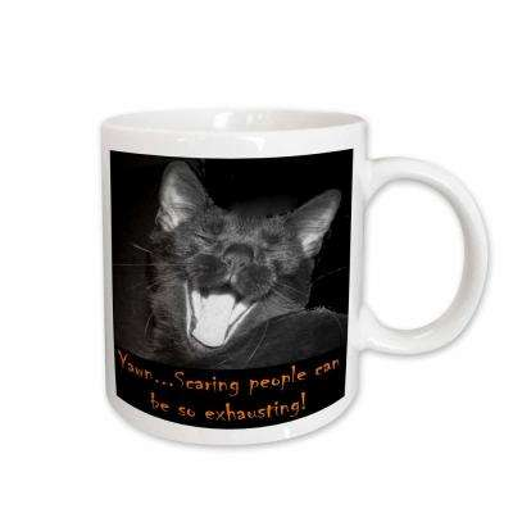 Sandy Mertens Halloween Cat Designs 11 oz. White Ceramic B and W Halloween Black Cat Yawning Mug
