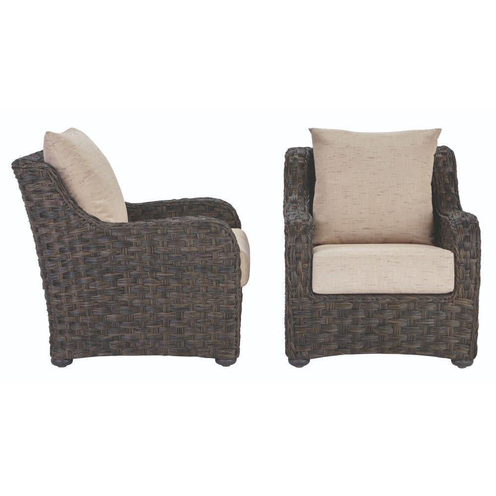 Sunset point brown wicker patio lounge chair with sand cushions 2 pack