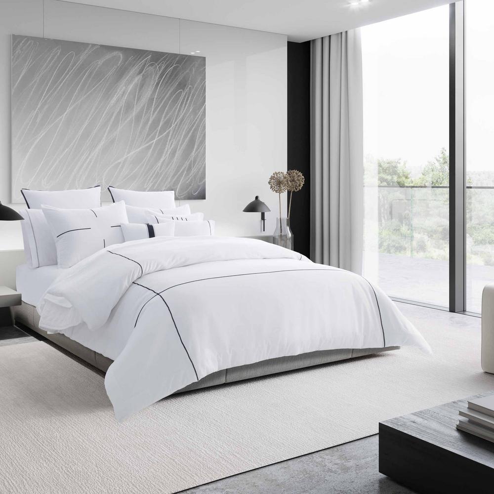 Zig Zag 3-Piece White Striped Cotton Queen Comforter Set