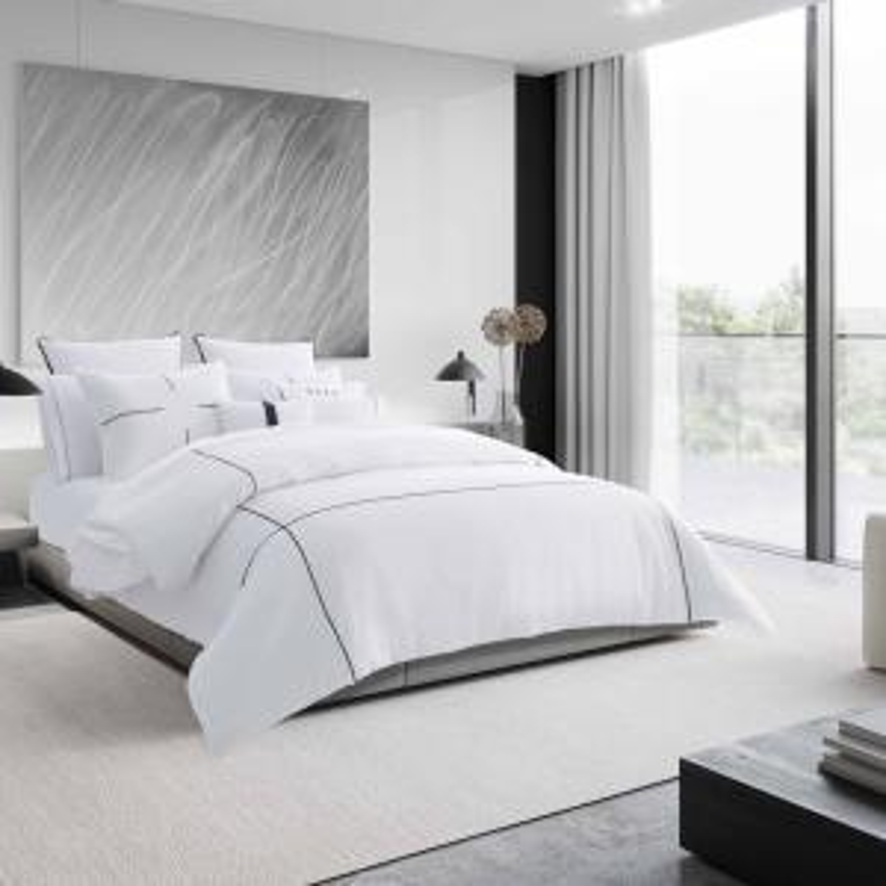 Zig Zag 3-Piece White Striped Cotton King Comforter Set