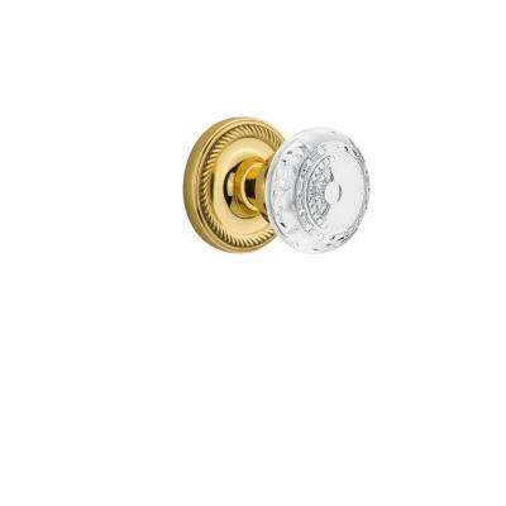 Rope Rosette Polished Brass Single Dummy Crystal Meadows Door Knob