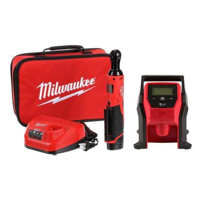 M12 12-Volt Lithium-Ion Cordless 3/8 in. Ratchet and Inflator Combo Kit (2-Tool) with (1) Battery and Charger