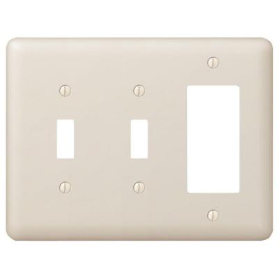 Declan 3 Gang 2-Toggle and 1-Rocker Steel Wall Plate - Almond