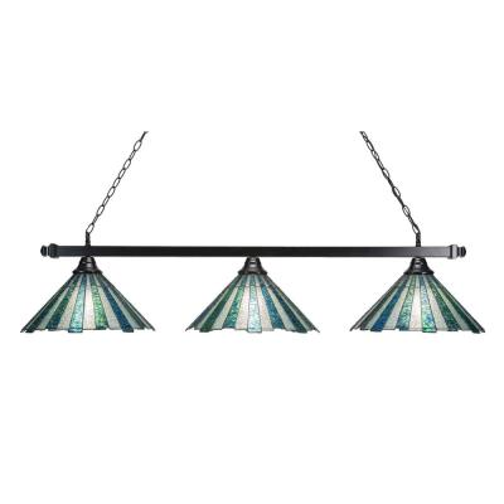 Filament Design 16 In 3 Light Bar Black Finish Billard Light With Sea Ice Art Glass Cli Tl118752 The Home Depot
