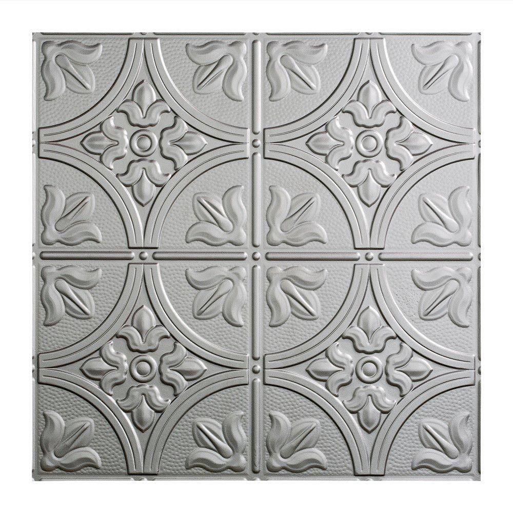 Traditional 2 - 2 ft. x 2 ft. Argent Silver Lay-in