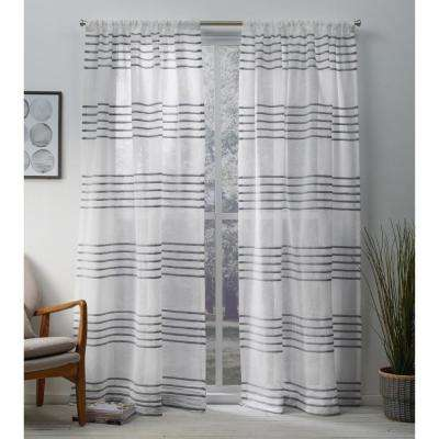 Monet 54 in. W x 84 in. L Sheer Rod Pocket Top Curtain Panel in Silver (2 Panels)