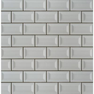 Gray Inverted Beveled 3 in. x 6 in. Glossy Ceramic Gray Subway Tile (1 sq. ft. / case)