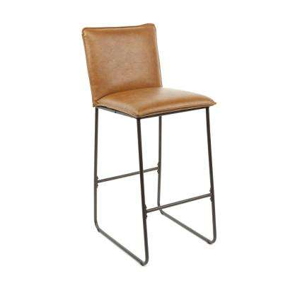 Hamlet 29 in. Brown Faux Leather Exposed Frame Barstool