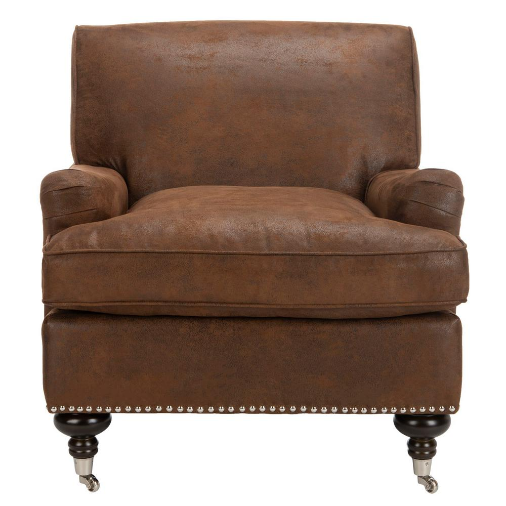 Chloe Brown/Espresso Faux Leather Club Arm Chair