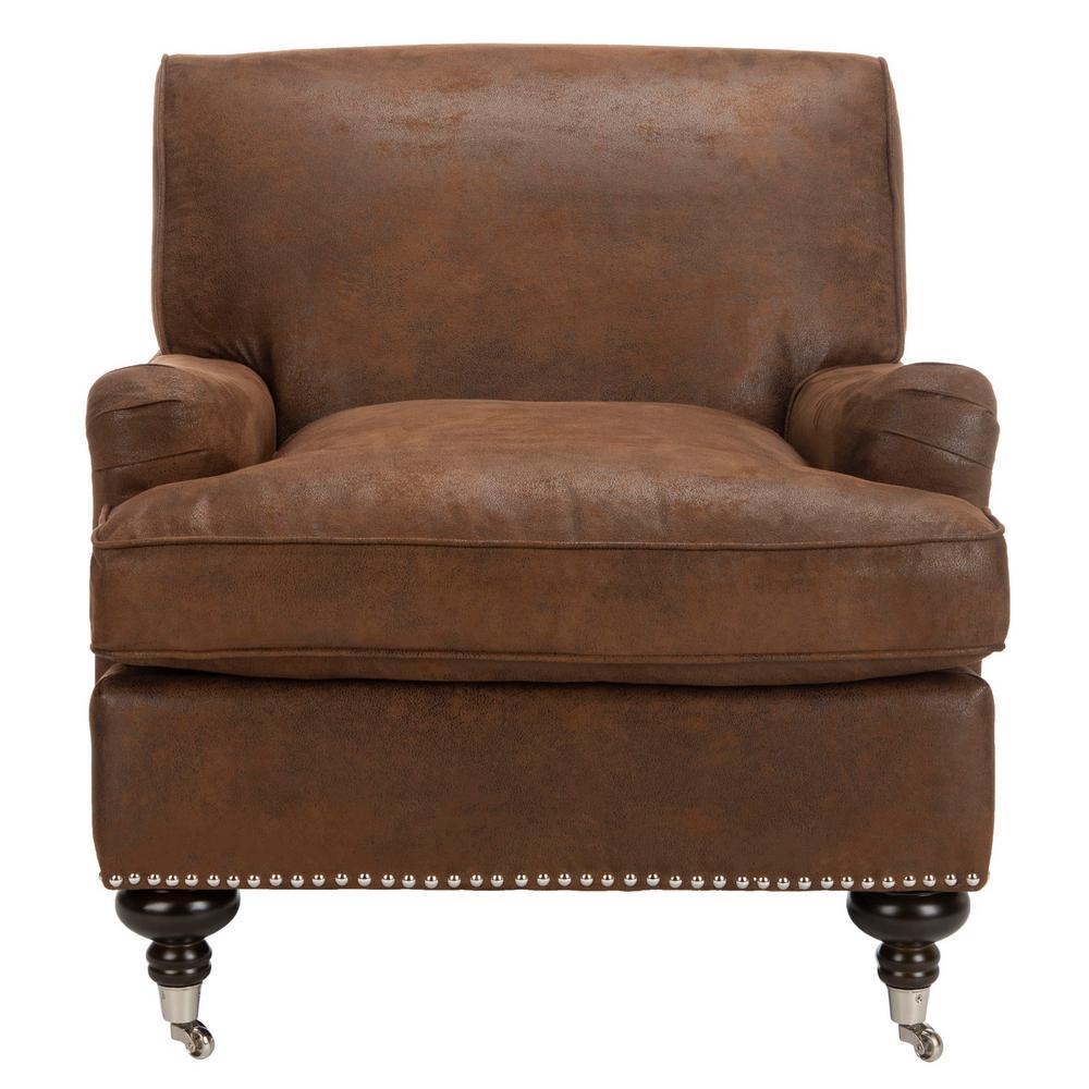 Safavieh Chloe Brown/Espresso Faux Leather Club Arm Chair MCR4571G