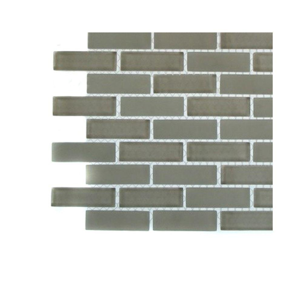 Splashback Tile Contempo Natural White Brick Glass - 6 in. x 6 in. Tile Sample-DISCONTINUED