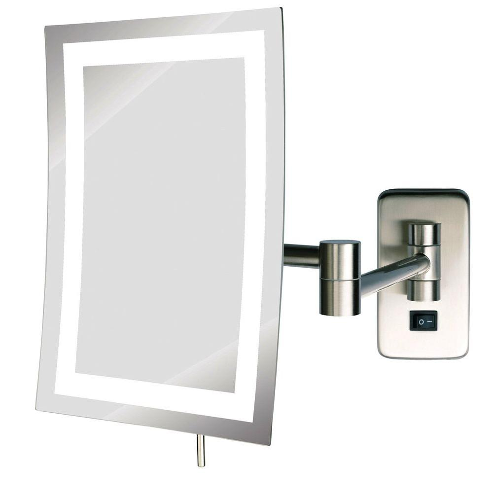 See All 6 In X 9 In Frameless Wall Mounted Led Lighted Single 5x Makeup Mirror In Nickel Hlednsa69 The Home Depot