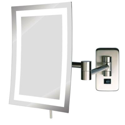 6 in. x 9 in. Frameless Wall Mounted LED Lighted Single 5X Makeup Mirror in Nickel