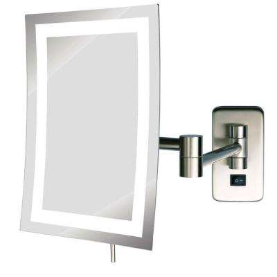 6 in. x 9 in. Frameless Wall Mounted LED Lighted Single 5X Mirror in Nickel
