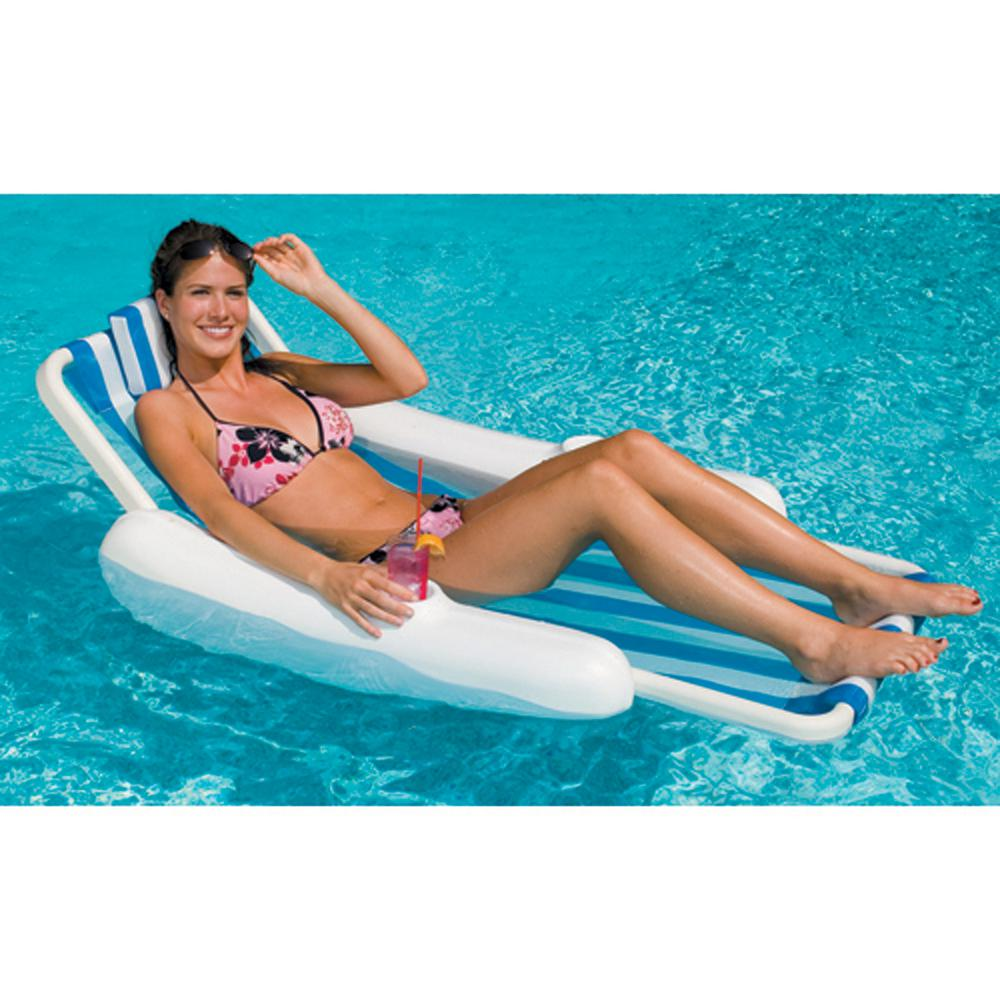 Blue White Sunchaser Sling Style Floating Pool Lounge Chair