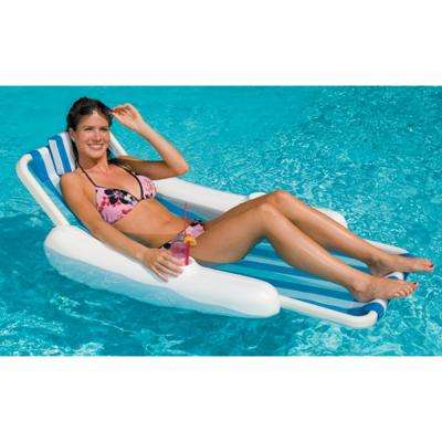 Blue/White SunChaser Sling Style Floating Pool Lounge Chair