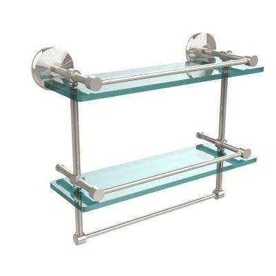 Monte Carlo 16 in. L  x 12 in. H  x 5 in. W 2-Tier Clear Glass Bathroom Shelf with Towel Bar in Polished Nickel