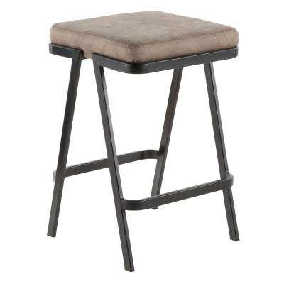 Seven 25 in. Backless Counter Stool with Stone Cowboy Cushion