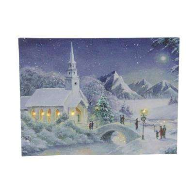 12 in. LED Fiber Optic Lighted Snow Covered Church Christmas Wall Art