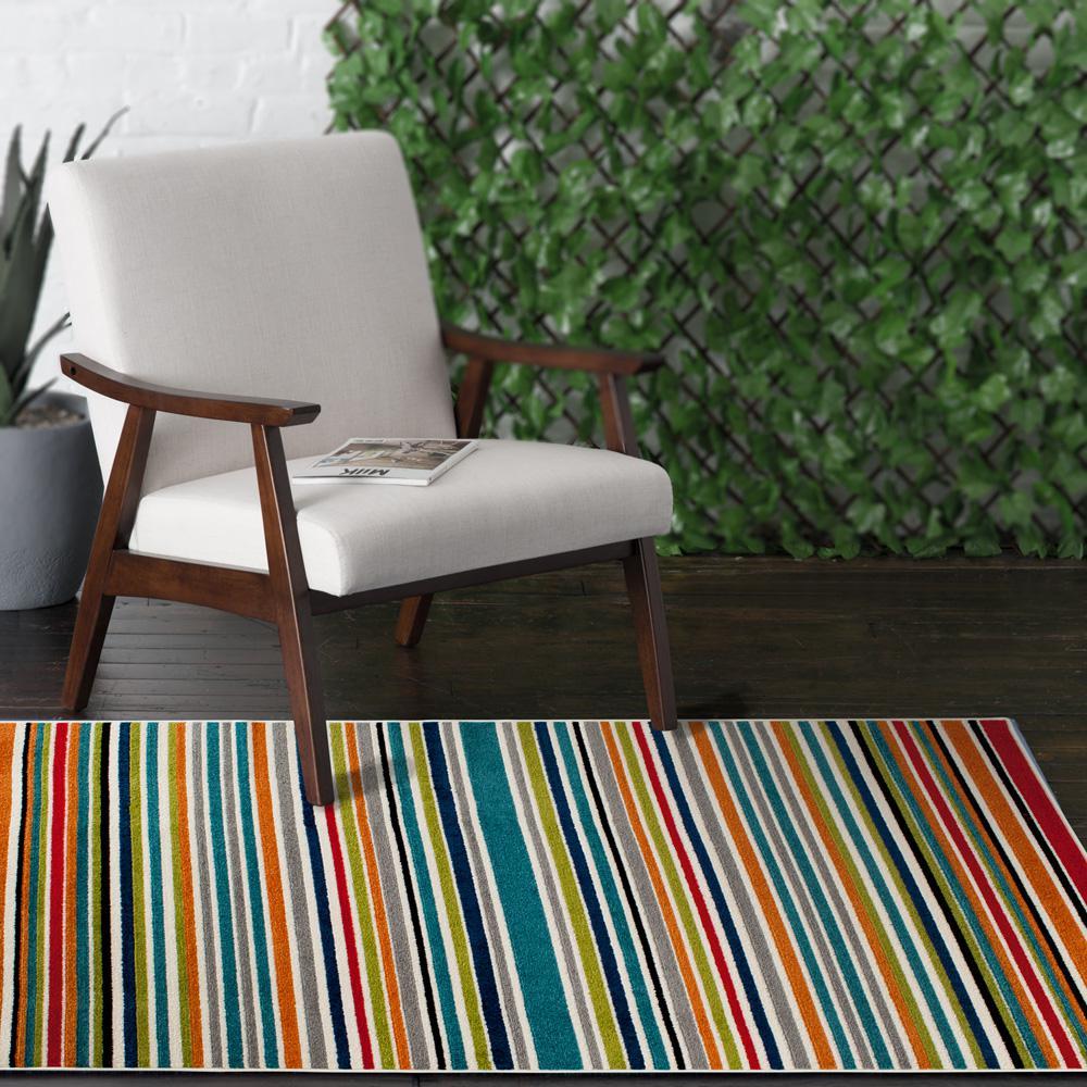 Patio Brights Grey 8 ft. 8 in. x 11 ft. 10 in. Aspen Indoor/Outdoor Area Rug