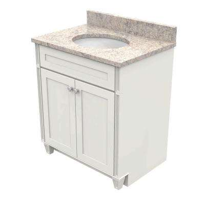 30 in. Vanity in Dove White with Natural Quartz Vanity Top in Shadow Swirl and White Basin