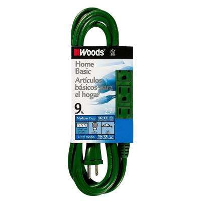 9 ft. 3-Outlet Extension Cord with Power Tap, Green