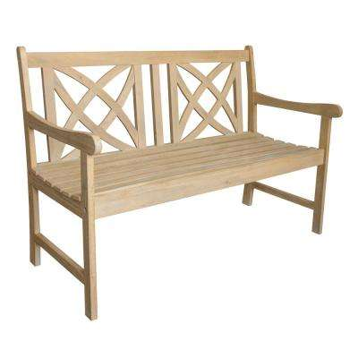 Beverly Sand-Splashed Wood 4 ft. Outdoor Bench