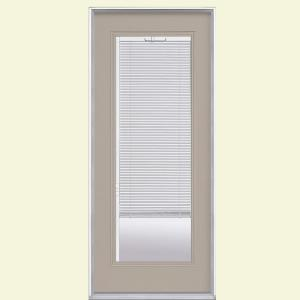 Mini Blind Painted Steel Prehung Front Door With No